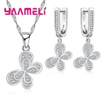 100% Real 925 Sterling Silver Jewelry Sets For Women Gifts Cubic Zirconia Inlay Paved Butterfly Bridal Necklace Earrings(China)