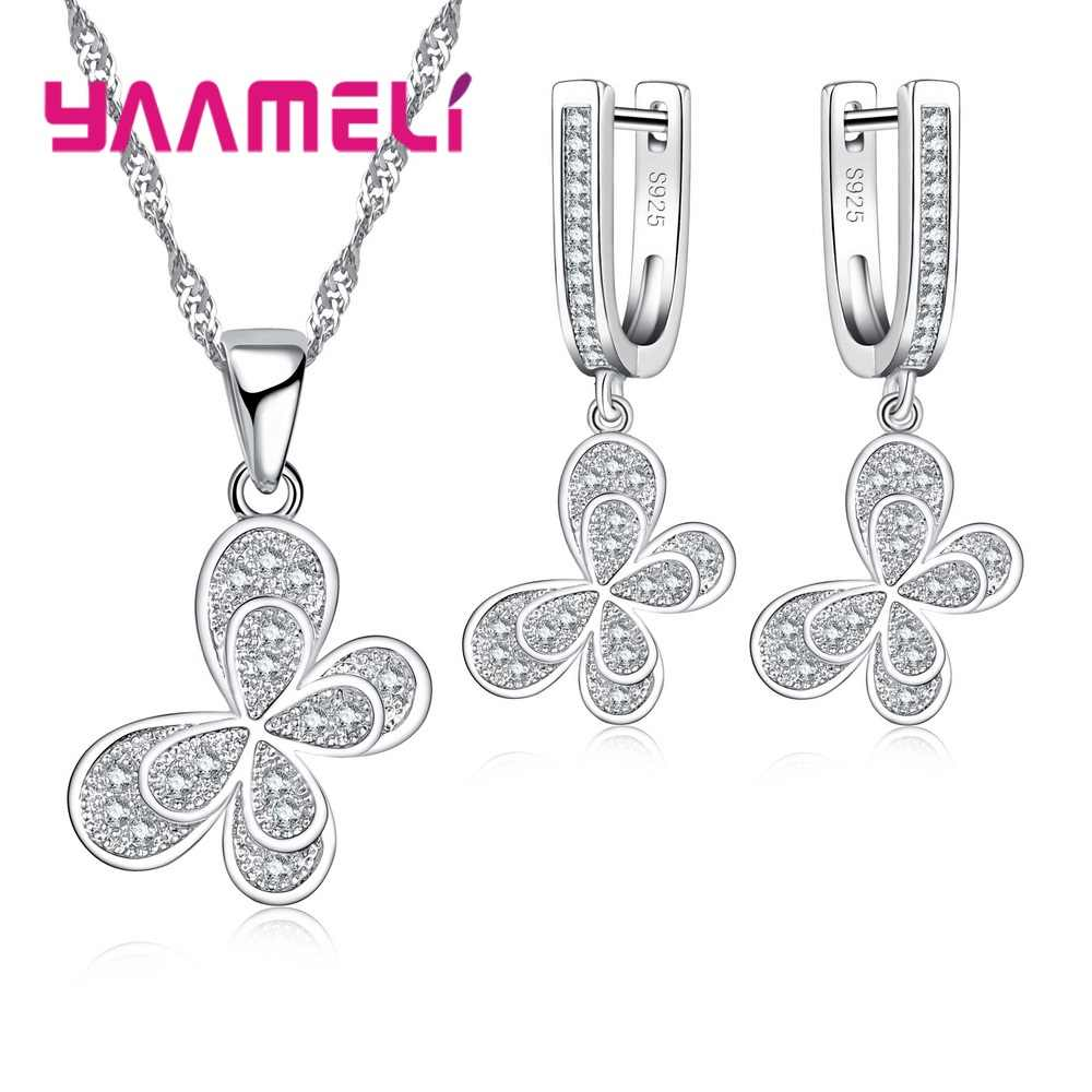 100% Real 925 Sterling Silver Jewelry Sets For Women Gifts Cubic Zirconia Inlay Paved Butterfly Bridal Necklace Earrings