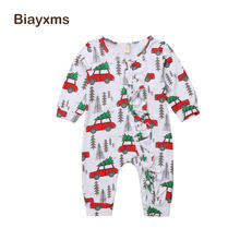 Christmas Baby Boy Girl Rompers Long Sleeve Newborn Infant Baby Boys Rompers Jumpsuit Cartoon Xmas Tree Baby Clothing D15(China)