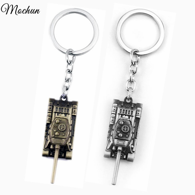 MQCHUN Colors 3D World of Tanks Key chain Metal Key Rings For Gift Chaveiro Car Keychain