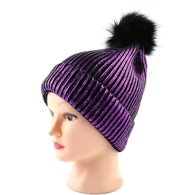 167e4360ca6 New Charm Women Unisex Fur Pompom Ski Gilding Autumn Winter Caps Bronzing  Beanies Hat Knitted Wool Skullies Casual Cap