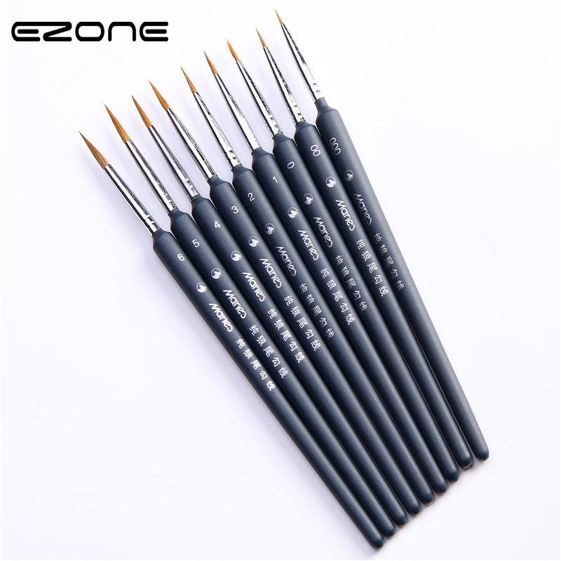 EZONE Black Paint Brush Fine Hand Painted Thin Hook Line Pen Drawing Art Pens Wolf Hair Brush Painting Pen School Office Supply