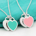 New Arrival 925 Sterling Silver Heart Pendant Necklaces 925 Silver Enamel Luxury Brand Pendant Necklaces NWP421
