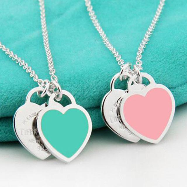 Nueva Llegada 925 Collares Pendientes Del Corazón de Plata de Ley 925 de Plata Del Esmalte de Lujo A Estrenar Collares pendientes NWP421
