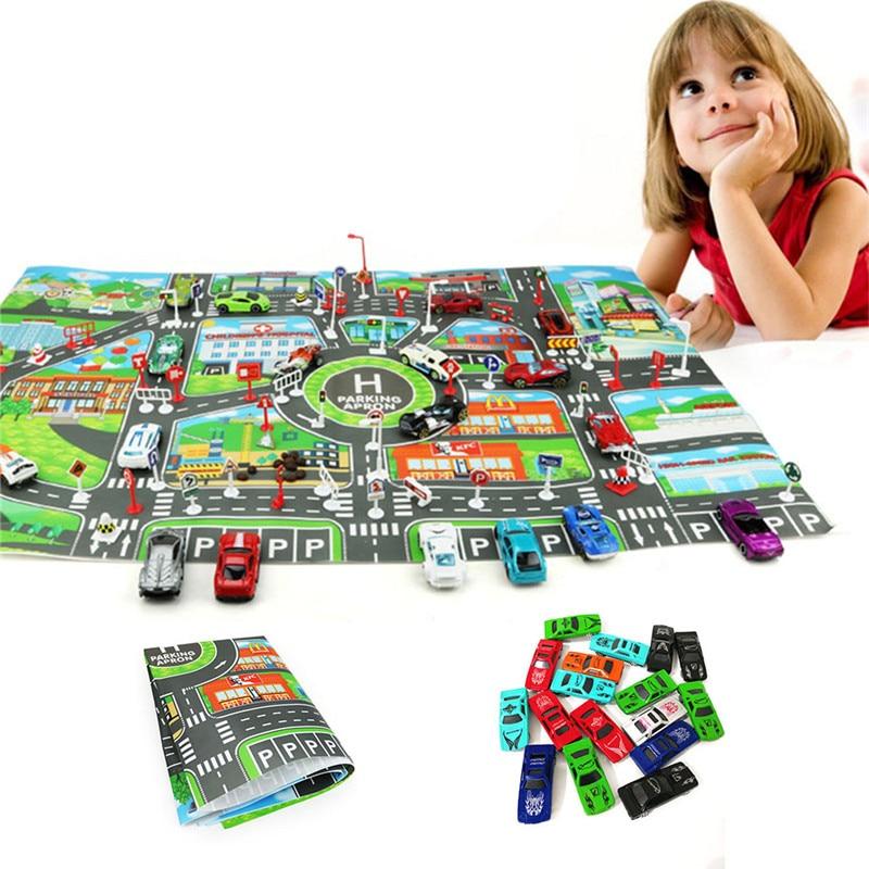 10Pcs Cars &1 Pcs Map 83*58CM City PARKING LOT Roadmap Alloy Toy Model Car Climbing Mats English Version Gifts For Kids