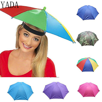 Veya açık şemsiye şapka yenilik katlanabilir güneş günü yağmurlu bir gün için eller serbest gökkuşağı katlanır ve su geçirmez çok renkli şapka kap YS0018|Şemsiye|Ev ve Bahçe -