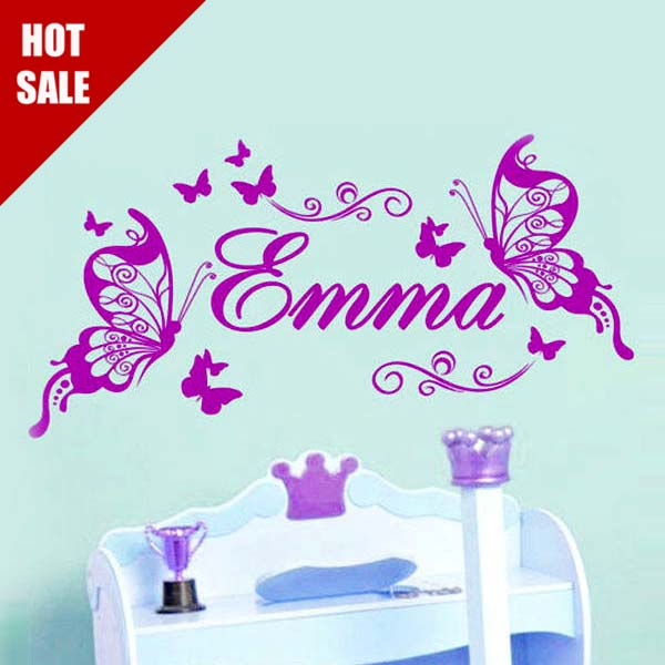 Butterfly Personalized Name DIY Vinyl Decorative Butterflies Fashion ...