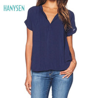 HANYSEN 2017 Hot Sale Women Casual Large Size Short Sleeve Solid Color Blouse Loose V Neck