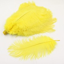 35-40 см Свадебный декор натуральный желтый страуса 10 шт. 14-16 дюймов страусиное перо