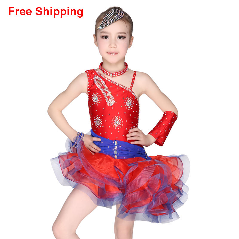 Gorgeous Unequal Rhinestone Latin Dance Dress Children Girls Kids Modern Ballroom/Samba/Rumba/Cha Cha/Tango Dance Clothing
