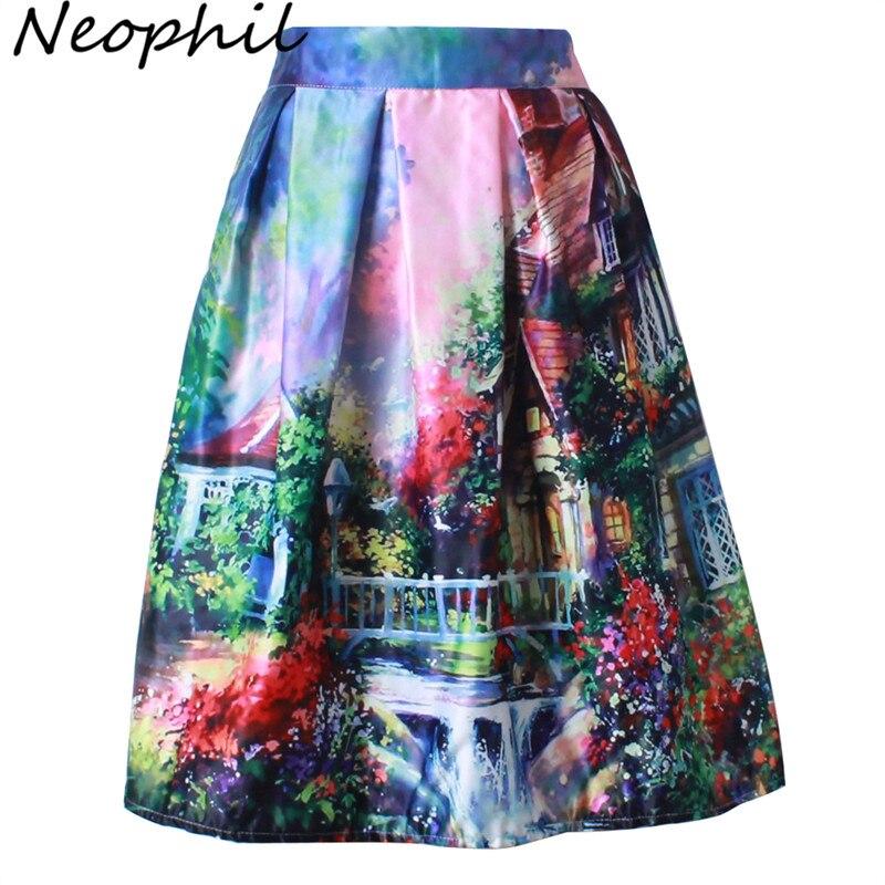 Neophil 2020 Retro Fashion Building Floral View Print Pleated High Waist Ball Gown Midi Skater Short Skirts Women Saia S1607026
