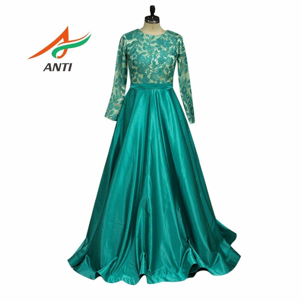 ANTI femmes grande taille herbe vert robe de soirée élégant o-cou dentelle robes formelles complètes robe de célébrité a-ligne de fête de mariage respecter