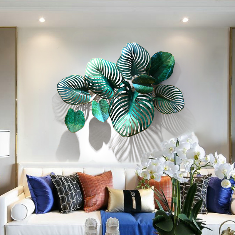 French pastoral living room background wall decoration simple three dimensional wrought iron creative sofa hangings stickers