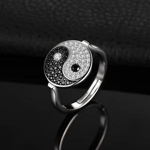 Image 3 - JewelryPalace Taiji Yin Yang Genuino Nero Spinello Anello In Argento Sterling 925 Anelli per Le Donne Anello di Dichiarazione di Gioielli In Argento 925