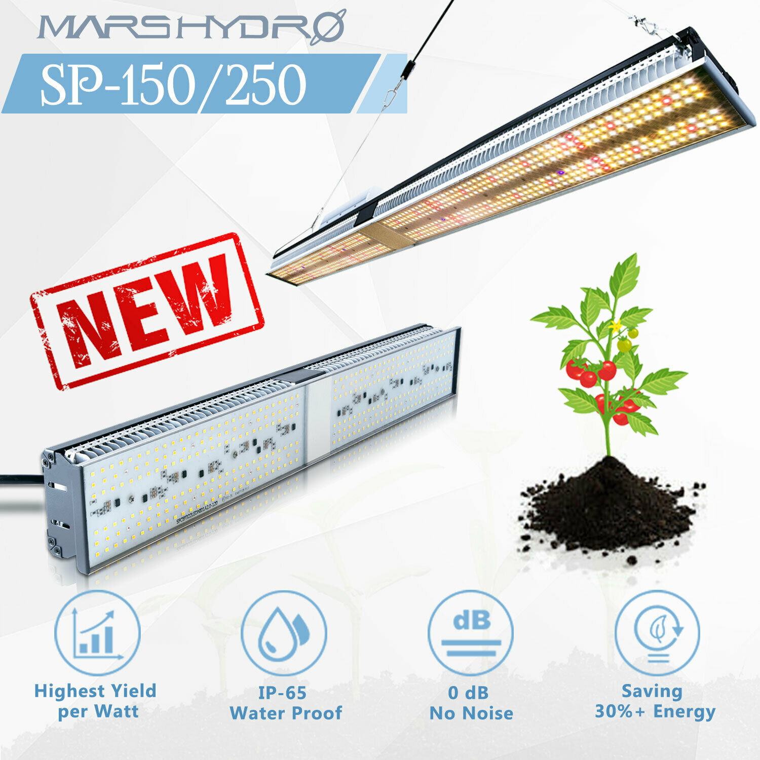 Mars Hidro SP-150 250 Full Spectrum Cresce A Luz LED Indoor Veg Flor Lâmpada SMD Chip☆Zero Noise☆Water Prova