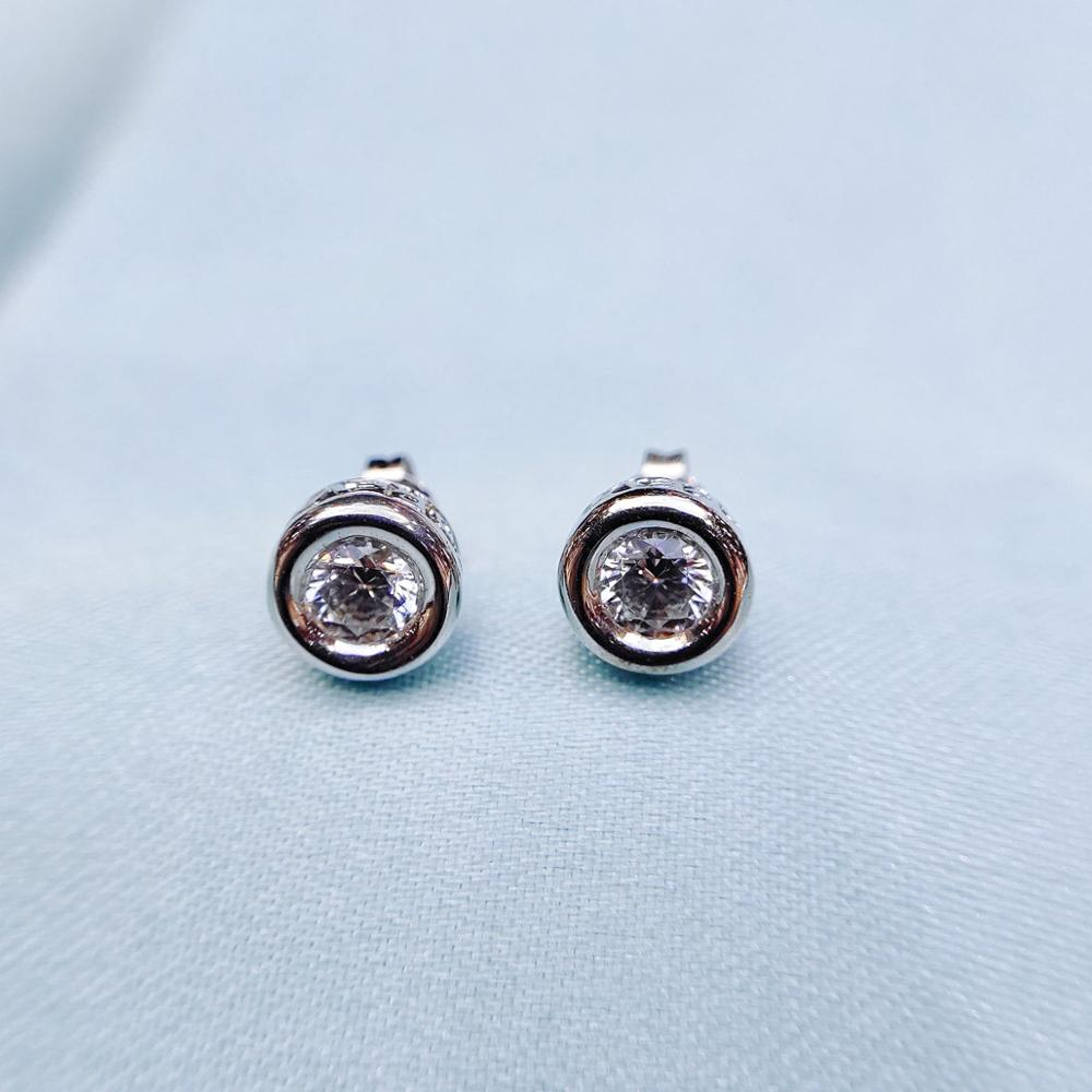 1.0CT Zirconia 925 sterling silver Earrings For Women Find Jewelry CZ Stud Earring  Vintage Style For Girl Lady's Gift  Hutang