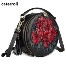 small women bag genuine leather shoulder bags embossed floral ladies handbag circular real crossbody