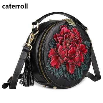 small women bag genuine leather shoulder bags embossed floral ladies leather handbag circular real leather crossbody bag - DISCOUNT ITEM  50% OFF All Category