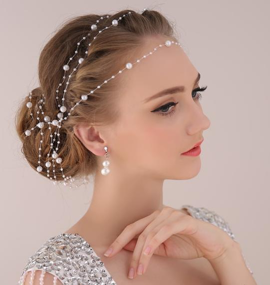Pearl Chain Bride Head Bijoux De Tete Hair Accessories Wedding Jewelry Sieraden Headpiece Diadem Diademas In From