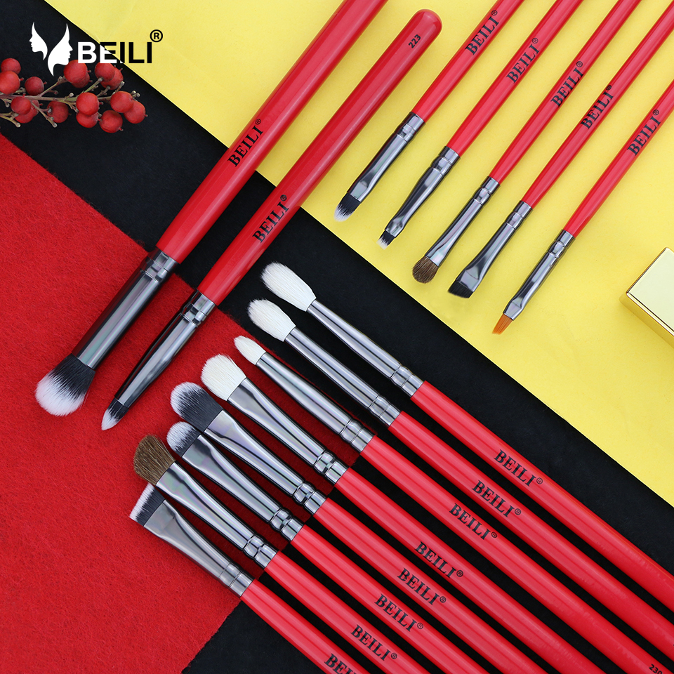 BEILI 15pcs Professional Makeup Brushes Set Natural Hair Eyeshadow Blending Eyebrow Foundation Pony Goat Synthetic Bristles тетрадь школьная action cartoon cars cuties 12 листов линейка скрепка an 1203 3 в ассортименте an
