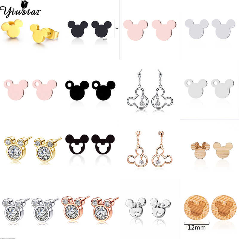 Yiustar Minnie Mickey Jewelry Mickey Stud Earrings for Women Girls Stainless Steel Cute Mouse Head Earrings Kids Accessories
