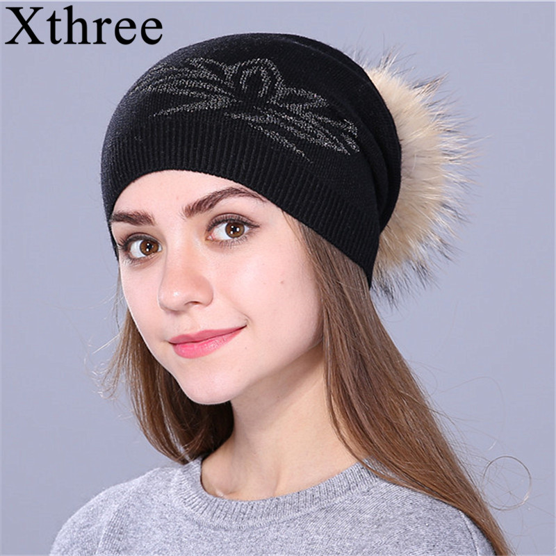 Xthree Autumn winter beanies Knitted Hat for women and girls real raccoon fur pom pom hat wool gorro skullies Female cap skullies 2017 new arrival hedging hat female autumn and winter days wool cap influx of men and women scarf scarf hat 1866729
