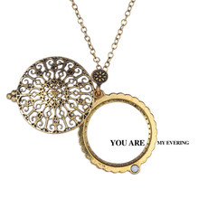 New Arrival Trendy Magnifying Glass Antique Bronz Plated Necklaces for Grandmother And Grandfather Gift With Box