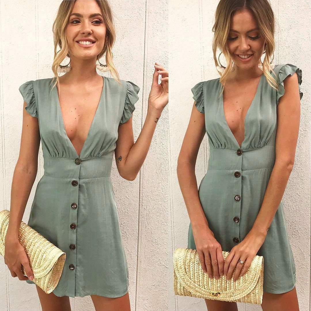 2019 New Arrival Women Summer Ruffle Dress Sleeve Waist Tightening Mini Dress Beach Party With Button