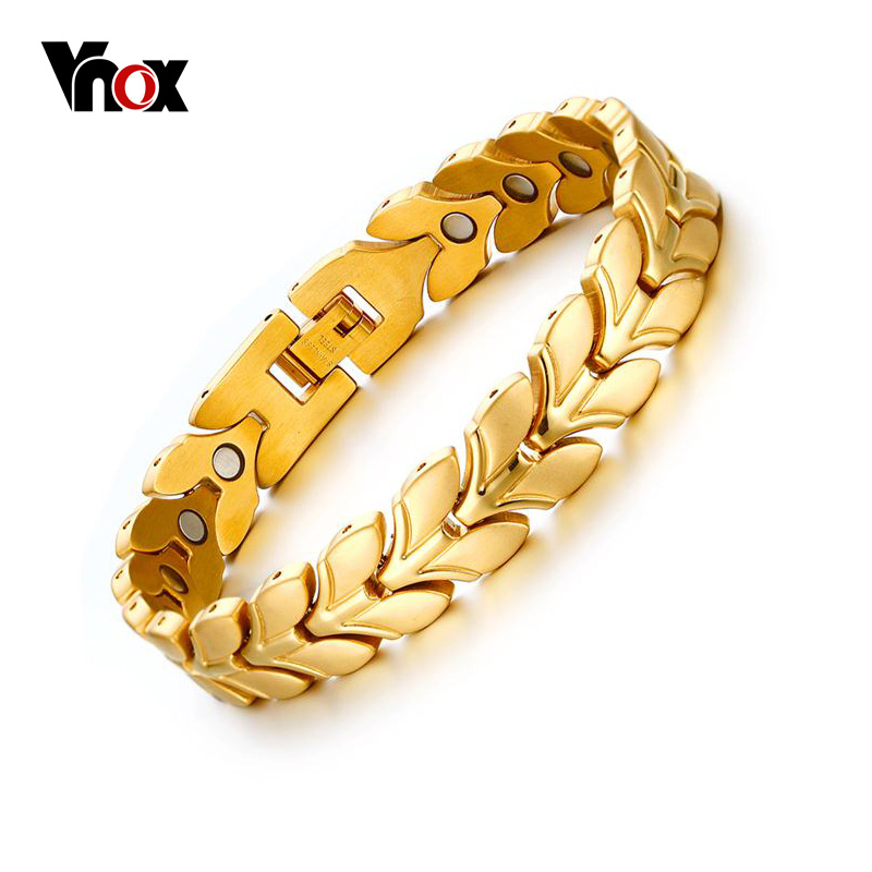 Vnox Health Magnetic Wheat Chain Bracelets for Women Men Power Gold-color Steel Bracelets & Bangles Jewelry fashion 2 size pure tungsten steel hematite couple bracelets bangles for women jewelry mens silver color bracelets for lover s