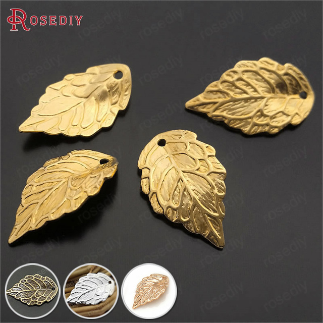 (29377)30PCS 17*10MM Gold Color Plated Brass Tree leaf Charms Pendants Diy Jewel