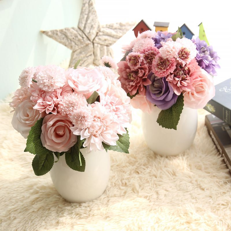 Buy pink silk flower wedding bouquet for Artificial flowers for wedding decoration