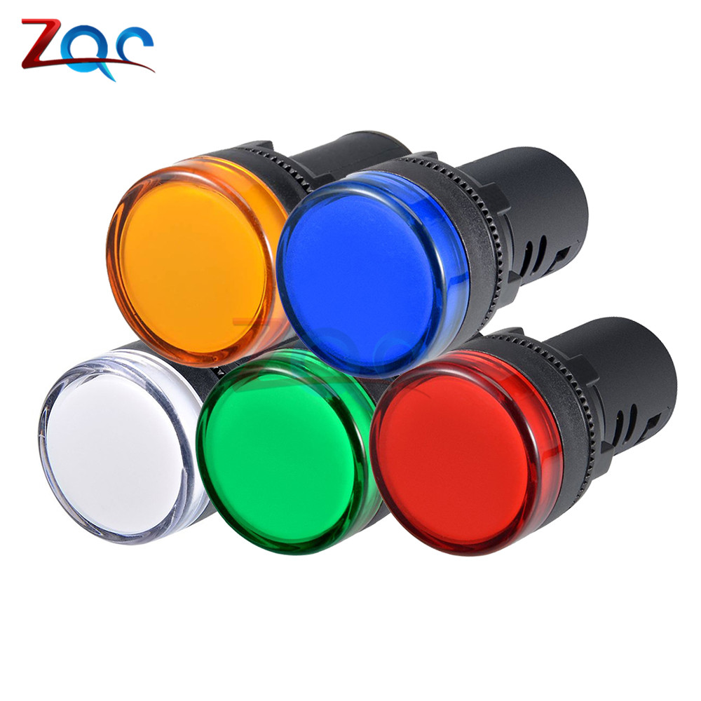2pcs AC//DC 24V 22mm Red LED Power Indicator Signal Light Pilot Lamp AD16-22D//S