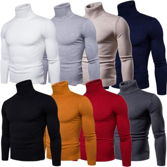 Winter High Neck Thick Warm Sweater Autumn Winter Turtleneck Classic Casual Sweaters Slim Fit Pullover Men Knitwear