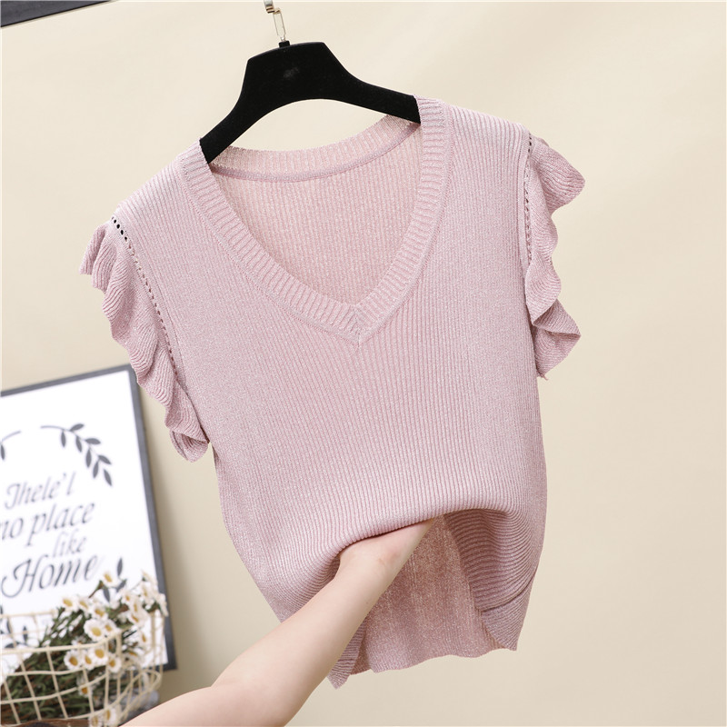 Dingaozlz New Fashion Women Knitted Shirt Summer Ruffles Sleeve Pullovers Tops Solid Color V-Neck Casual Sweater