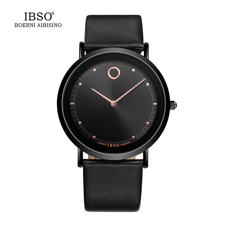 IBSO Genuine Leather Strap 2017 Mens Watches Top Brand Luxury 7.6MM Ultra-thin Dial Watch Men Quartz Wristwatches Male Clock