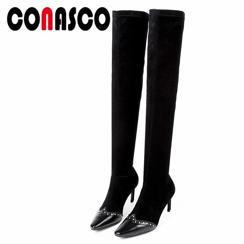 1 Extensible noir Femme Bottes Conasco Le Genou 2019 Cuisse Tissu Femmes Dames Haute Talons Chaussures Chaussette Sur Sexy Rivets 1lFKJc53uT