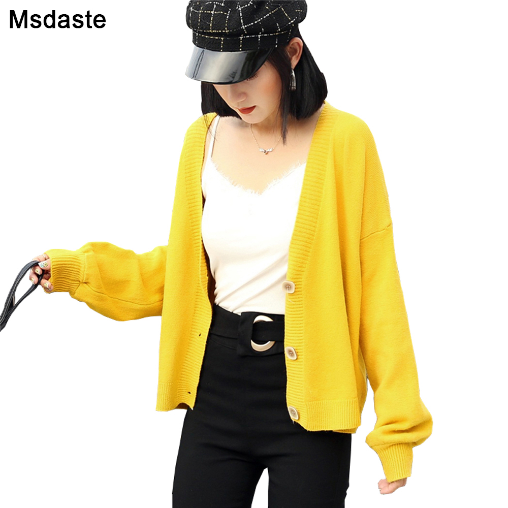 Knitted Sweater Cardigan Woman Coat Autumn Wear Long Sleeve V-Neck Solid Color Casual Thin Women Cardigans Sweaters Ladies Tops