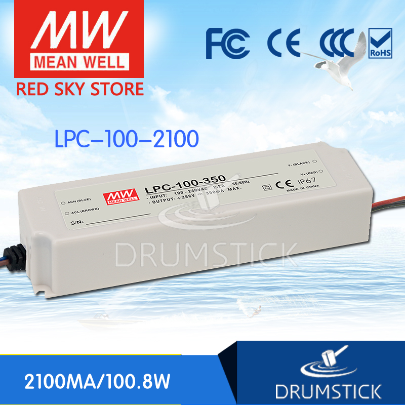 MEAN WELL LPC-100-2100 48V 2100mA meanwell LPC-100 48V 100.8W Single Output LED Switching Power Supply [Hot1]