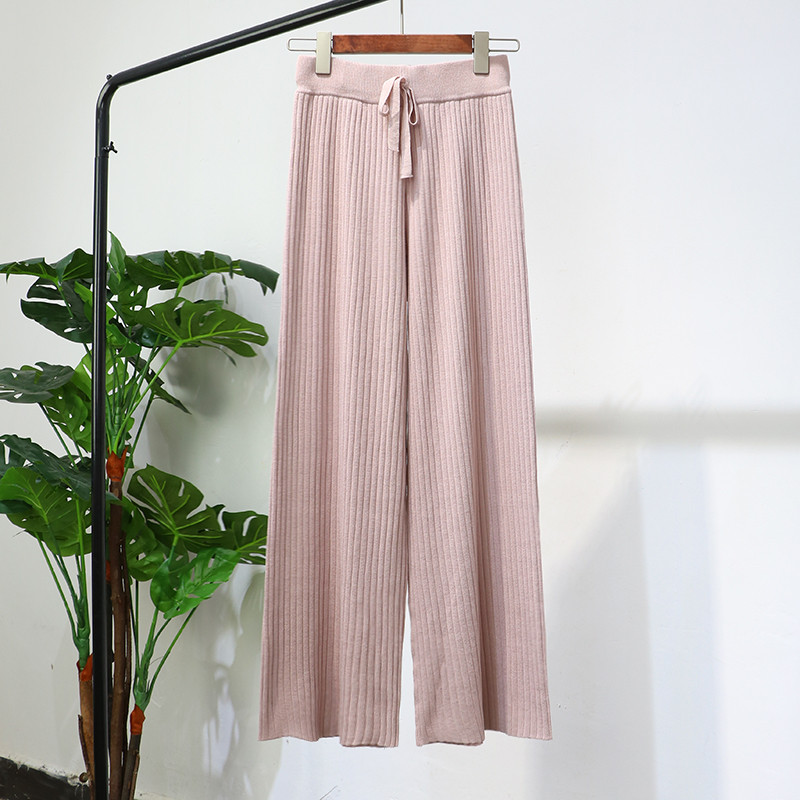 2018 Women Long Trousers Autumn Winter Elastic High Waist Knitted Pants Female Wide Leg Pants Casual Loose Pants Plus Size A1206 4