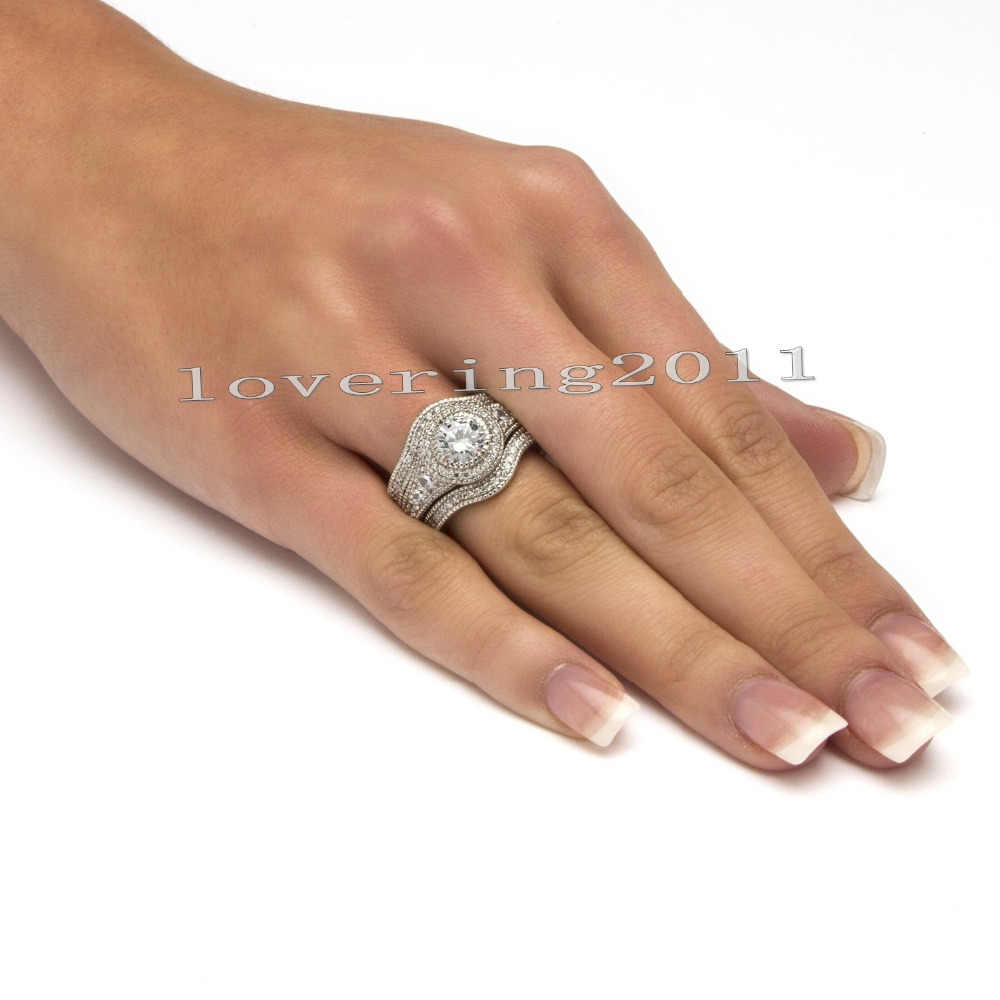 Jóias Antigas 6 choucong mm Pedra 5A Zircon pedra 3 10KT White Gold Filled Anel de Noivado Wedding Band Set Sz 5-11
