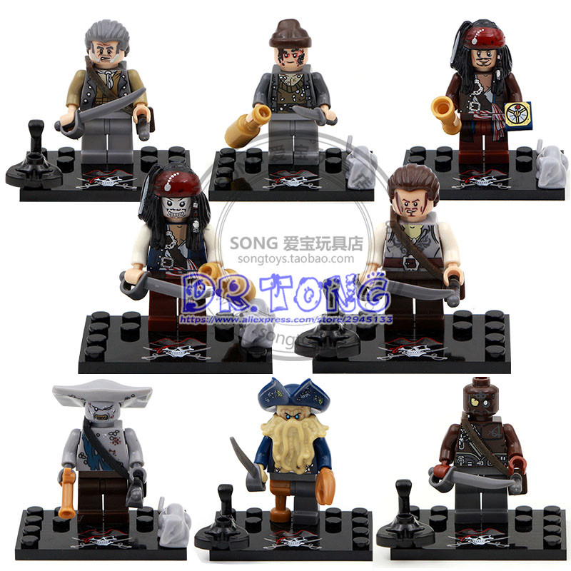 DR.TONG Ksz515 Pirates of the Caribbean Captain Jack Sparrow David Jones Maccus Super Hero Figures Building Blocks Toys KID Gift