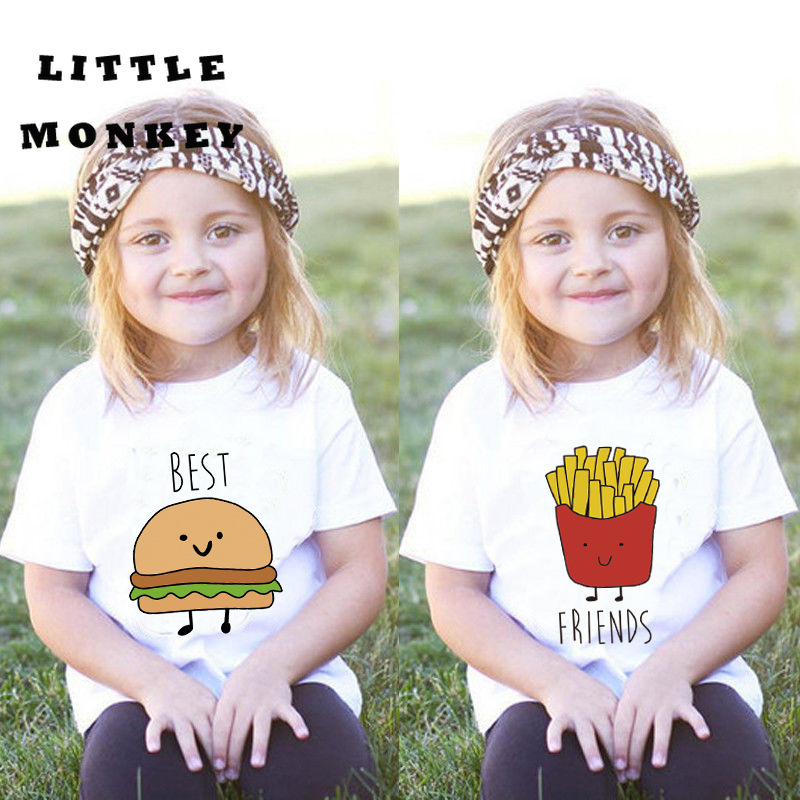 Household Matching Dress Sisters Sister And Brother Massive Sister Little Sister Material Hamburger French Fries Quick Sleeve T-Shirt