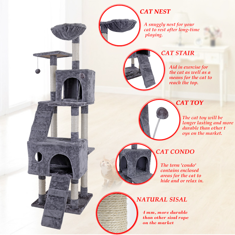 RU Domestic Delivery 173CM Cat Tree Cats Playing Toys Pet Products Cat Tree Kitten Activ ...