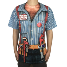 Funny Halloween Plumber Costume for Men Tacky Costumes Bachelor Stag Party Short Sleeve T Shirt Plus Size