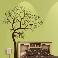 Free Shipping Large Size 72 X55 180cm X 140cm Vinyl Big Tree Wall Stickers With Pink