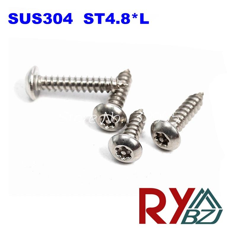 100pcs/lot  ST4.8*L  Stainless Steel Six-Lobe Round head self tapping screw, SUS 304 torx screw/ TorxSTWP 100pcs lot 304 stainless steel socket set screw head inner six angle set screw screw m3 m4 m5
