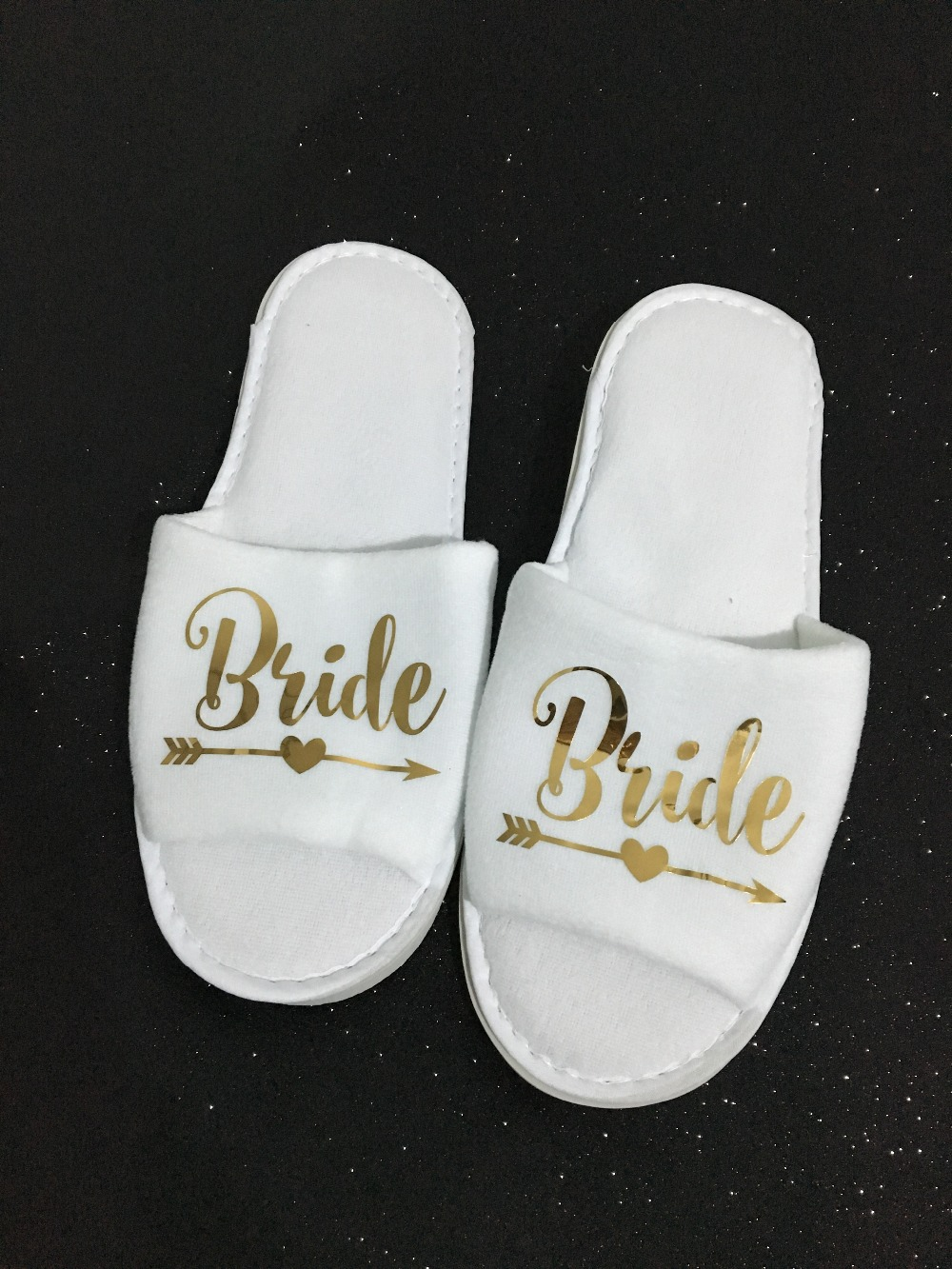 6ac8ac29aa6bc9 bride white slippers personalised bridal wedding open toe hen free ...