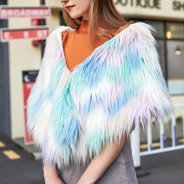 Cute Women Faux Fur Coat Leather Fox Fur Collar Ponchos and Capes Bridal Wedding Dress Shawl Cape Lady Wool Fur Coat