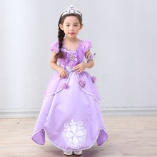 Halloween costume princess dress sofia  girls skirt fairy tale character acting clothing cotton lining