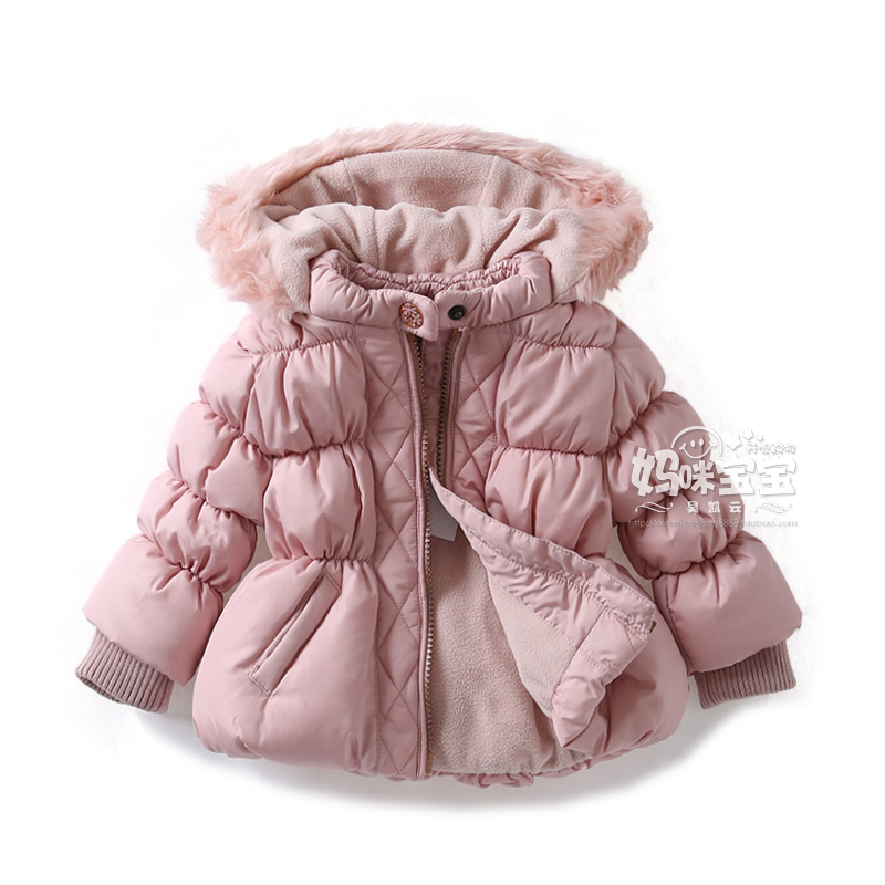ФОТО New 2015 girls clothes autumn winter kids jackets baby girls puff sleeve hooded Princess coat baby OUTERWEAR